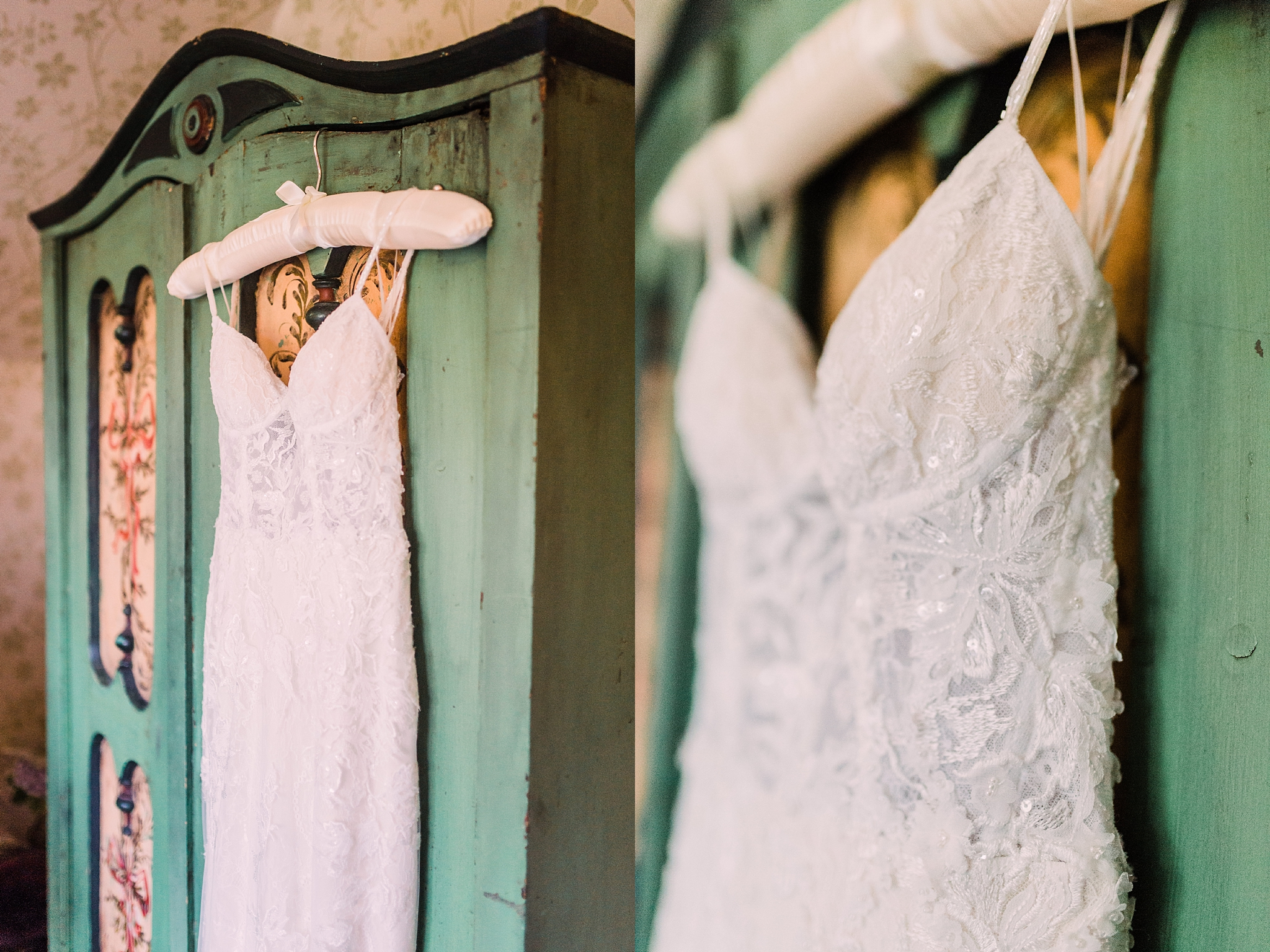 Wedding Dress Hanging on Wardrobe at Pheasant Hotel, Harome