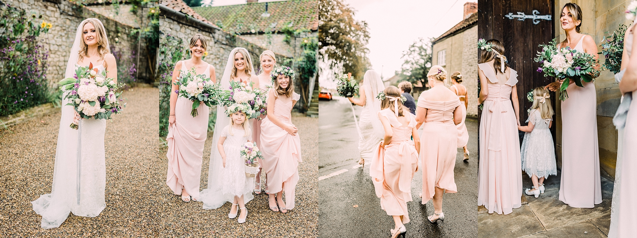 Bride and her bridesmaids at the Pheasant Hotel, Harome