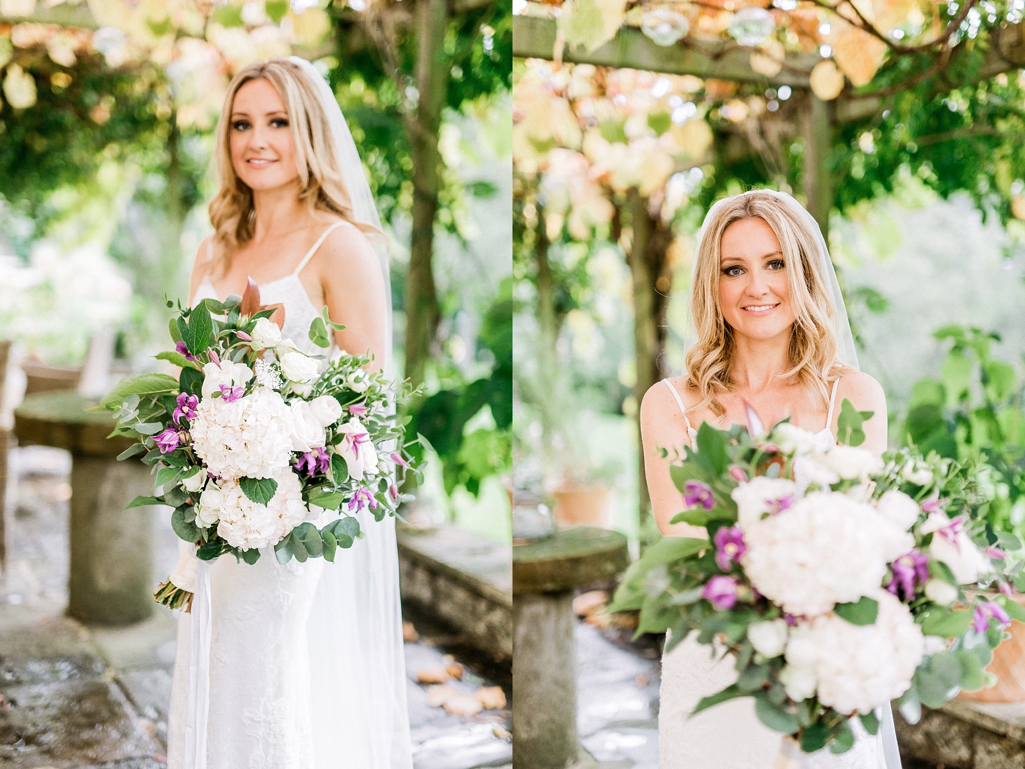 Bride and her bouquet at the Pheasant Hotel, Harome