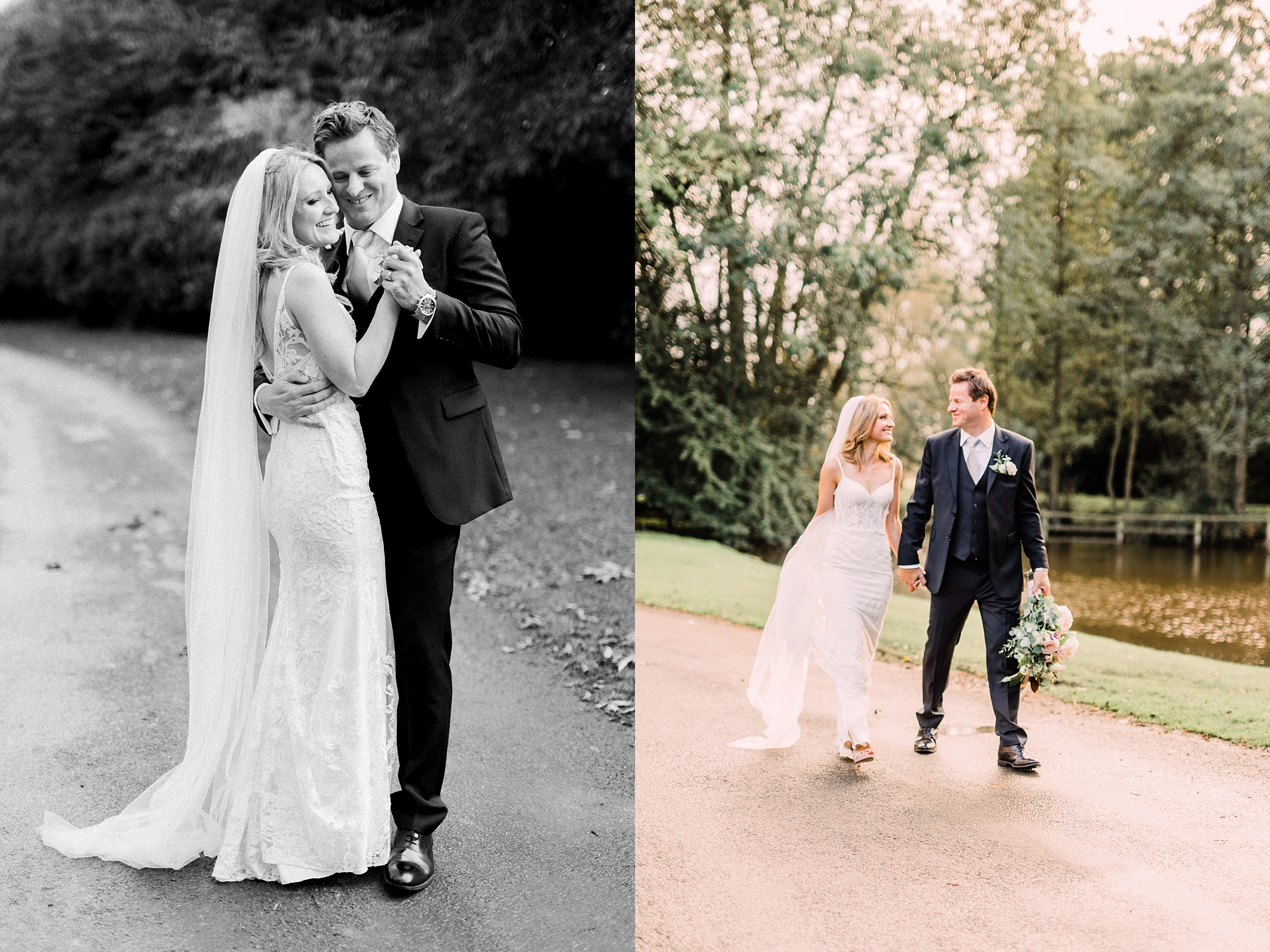 Bride and groom at the pond at The Pheasant Hotel, Harome