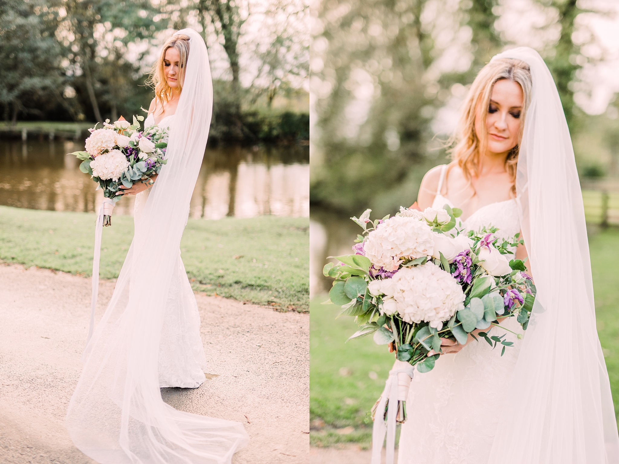 Bride at the pond at The Pheasant Hotel, Harome