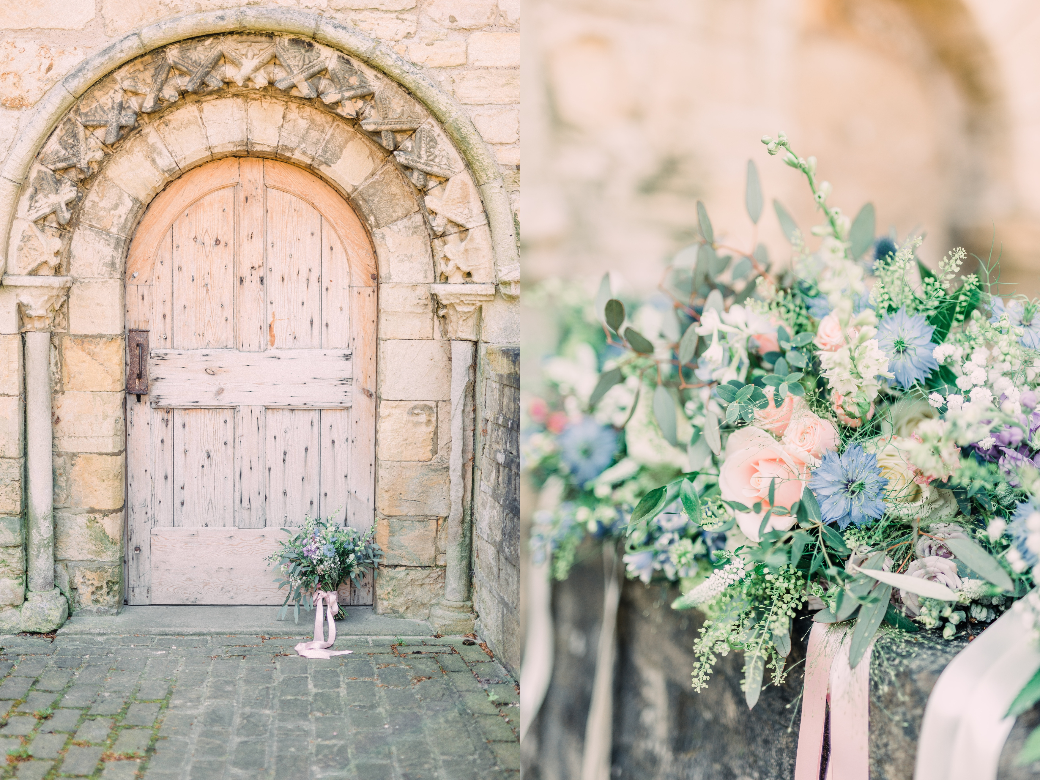 Bouquet at decorative door at Priory Cottages Wedding Venue