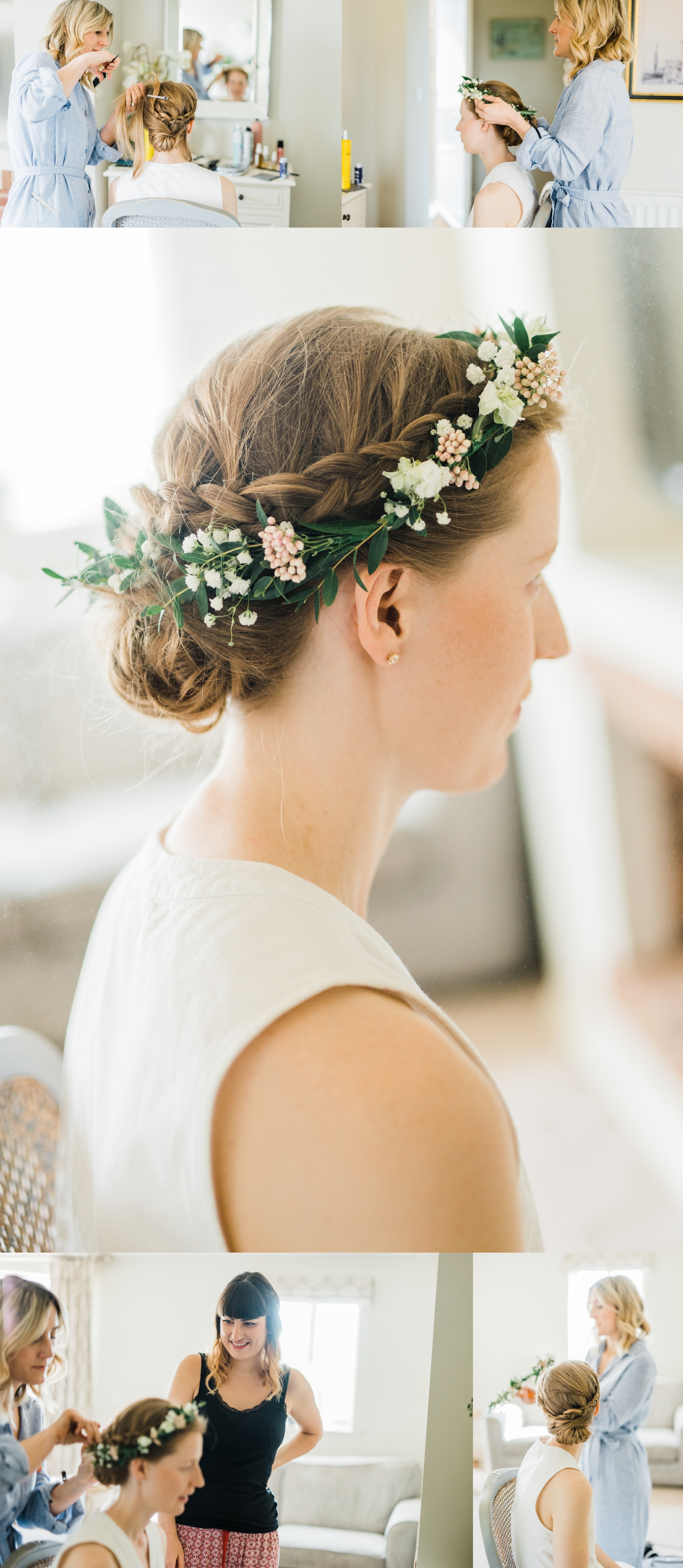Hairstylist styling brides hair and placing a flower crown on brides head