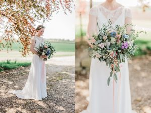 Bride holds bouquet at Priory Cottages Wedding Venue