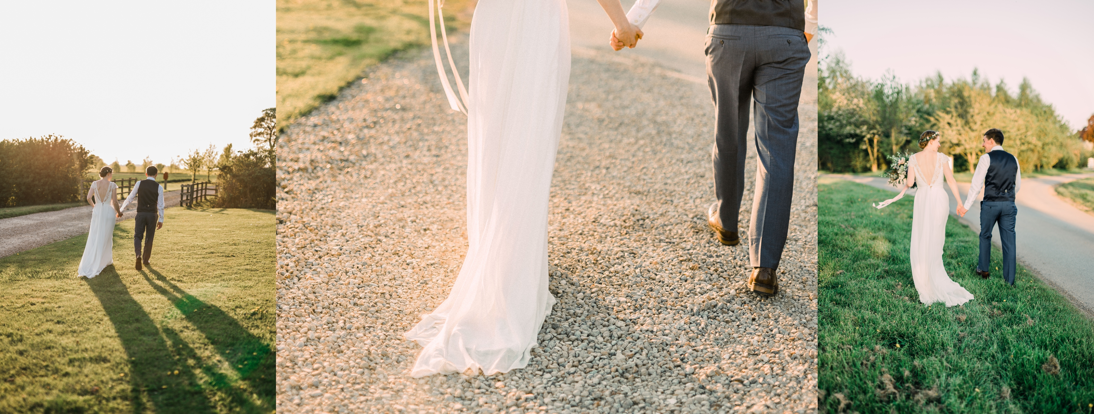 bride and groom walk into the sunset