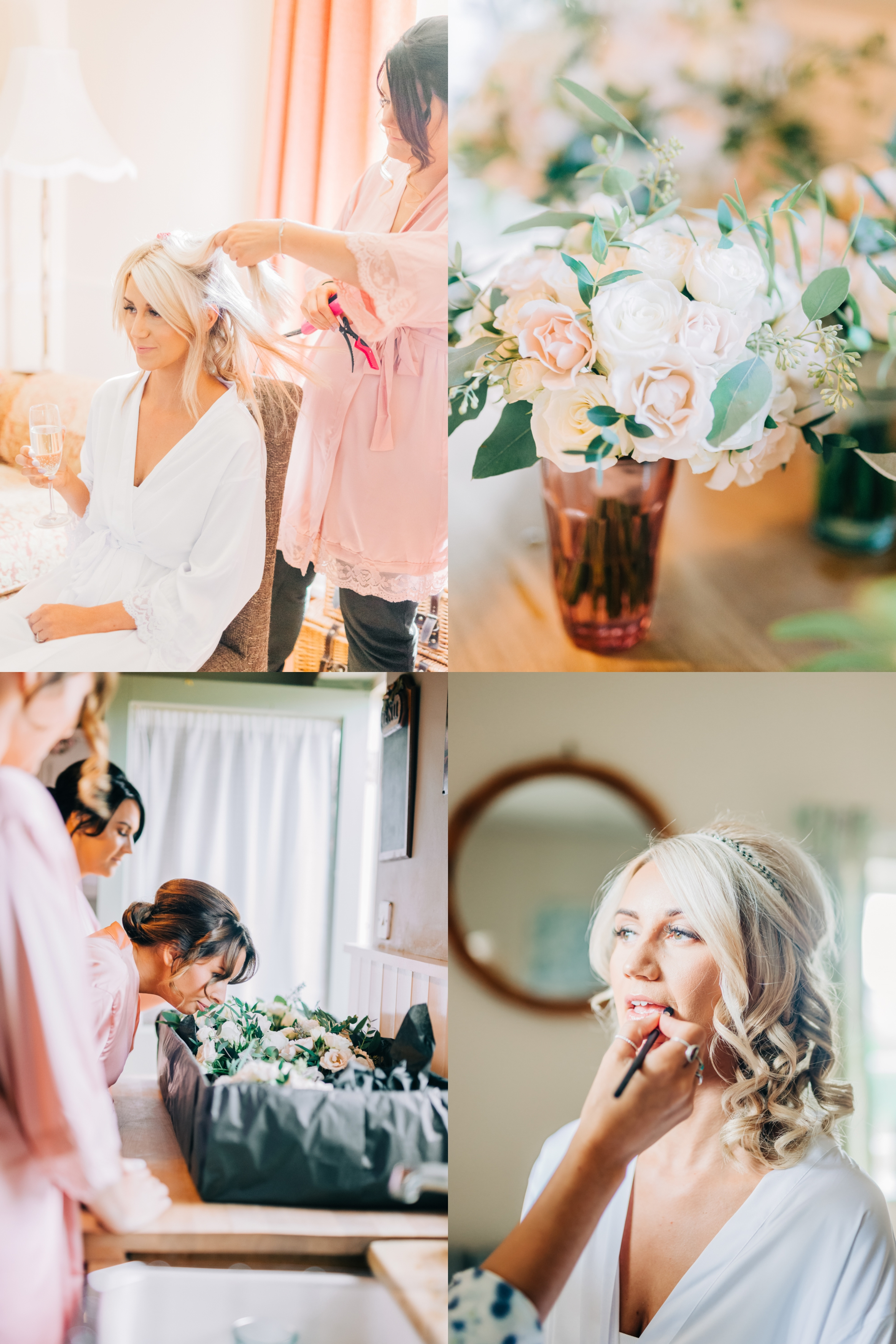 Bridal Preparations, bridesmaids smelling bouquet